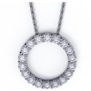 Circle Pendant Necklace 2.70 Carats Round Cut Diam
